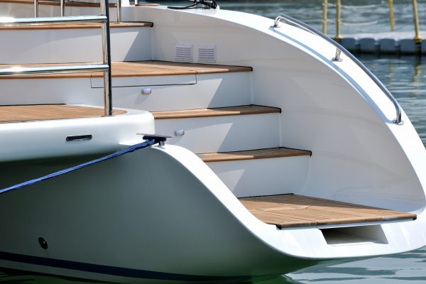 Stair in shape on yacht